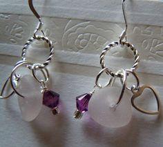 Lavender Beach Glass Earrings  Sea Glass by BeachGlassMemories, $22.50