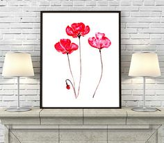 Poppies Art Print Watercolor Painting Print, Flower Art, Watercolor Fine Art, Wall Decor - 71