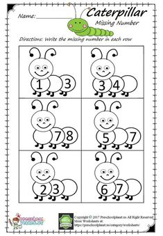 Here is caterpillar themed missing number worksheet for preschool, kindergarten, and first graders. This missing number Numbers Kindergarten, Free Kindergarten Worksheets, Numbers Preschool, Preschool Printables, Preschool Learning, Preschool Kindergarten, Jolly Phonics Activities, Teaching Numbers, Numbers For Kids
