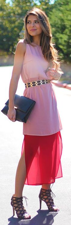 Pink And Red Belted Fall Inspo by The Girl From Panama