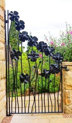 decorative garden gate with flowers
