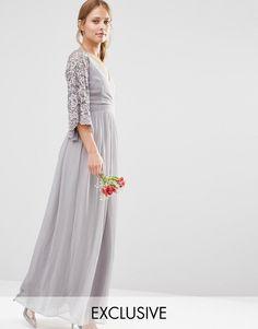 Maya Wrap Front Pleated Maxi Dress With Lace Sleeve - Gray Latest Fashion Clothes, Fashion Online, Maya Wrap, Bridesmaid Dresses, Wedding Dresses, Bridesmaids, Maxi Dresses, Party Dresses, Lace Sleeves