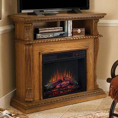 Corinth Wall or Corner Electric Fireplace Media Center in Premium Oak - 23DE1447-O107