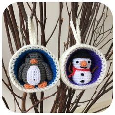 Christmas Bauble Ornaments, Snowman & Penguin Crochet Pattern
