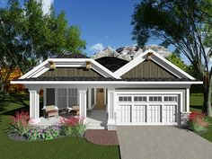 The unique Craftsman-style design of this ranch plan will make it a standout in your neighborhood. The kitchen, dining and great room areas are arranged to create open living space and separate the two bedrooms. Both the great room/dining room and the mas