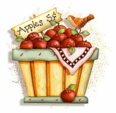 county fair basket of apples Pintura Country, Country Art, Country Primitive, Country Style, Fall Clip Art, Food Clipart, Apple Decorations, Apple Art, Recipe Scrapbook