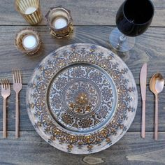 """We are so excited about new product arrivals! Right now a showroom favorite is our new """"Samara"""" charger. Crazy over its decorative pattern and dark, shimmery finish. Can't wait to share more! Wood Plate Chargers, Kitchenware, Tableware, Planning And Organizing, Charger Plates, Samara, Tablescapes, Dinnerware, Decorative Plates"""