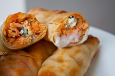 Buffalo Chicken Rolls 103 calories. 3 Weight Watchers PP! :) love anything wrapped in an egg roll paper