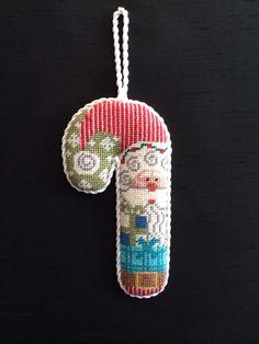 Santa candy cane ornament  ~ canvas by Danji