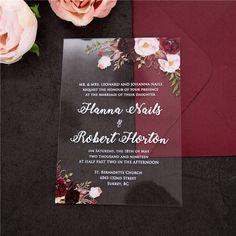 clearly bouquets-moody blush and burgundy flowers acrylic invitation thickness Acrylic Wedding Invitations, Floral Invitation, Bridal Shower Invitations, Wedding Invitation Trends, Invitation Ideas, Invitation Design, Invites, Plexiglass, Burgundy Flowers