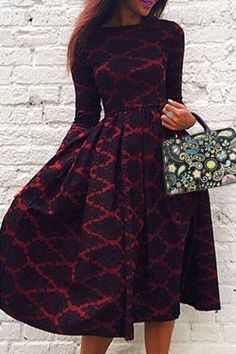 Vintage Long Sleeve Rhombus Printed High Waist Ball Gown Dress For Women