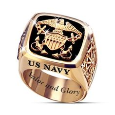 "Handcrafted in solid sterling silver with 24K-gold plating. Genuine black onyx center stone with Navy insignia. Engraved with ""Valor and Glory."""