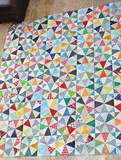 Kaleidoscope Scrap Quilt Top by KitchenTableQuilting