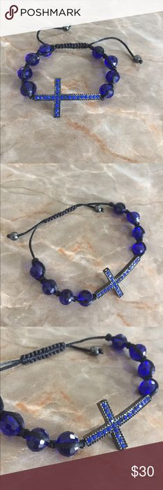 Beautiful blue cross bracelet Bracelet. Blue beads with blue faux crystals in cross. Size is adjustable. Jewelry Bracelets