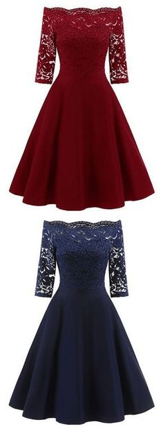 Half Sleeve Lace Burgundy/Navy Short Satin Homecoming Dress, Elegant Prom Dresses - Another!