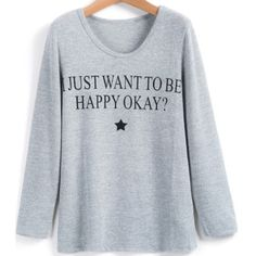 Light grey printed shirt One size fits most. Material: cotton. Long sleeve shirt / sweater Tops Tees - Long Sleeve