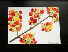 Como fazer quadro de outono com colagem de botões para decoração ~ VillarteDesign Artesanato