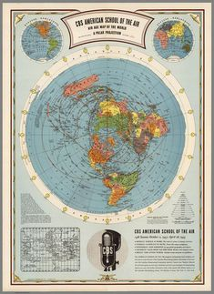 Flat Earth Map - CBS American School Of The Air : Hammond : Map Print for sale online Flat Earth Facts, Flat Earth Proof, Terre Plate, Research Flat Earth, Flat Earth Movement, Earth Memes, Earth Quotes, Nasa Lies, Circle Map