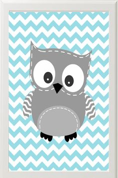Chevron  Owl Nursery Art Gray and Turquoise Gender by Pinkroad457