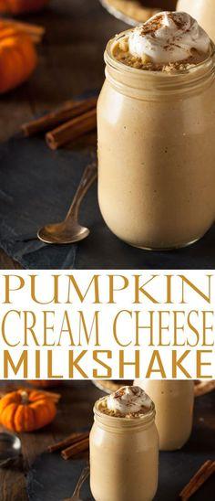 Pumpkin Cream Cheese Milkshake. Pumpkin Pie Milkshake is delicious and the perfect way to enjoy pumpkin fall flavors. Enjoy this and more fall flavor recipes.