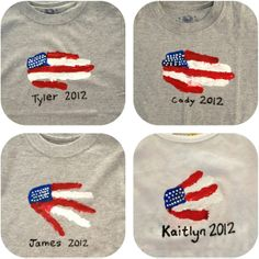 How fun would it be if your friends/troop mates put their hand prints on your favorite GS shirt? Holiday Crafts For Kids, Crafts For Girls, Summer Crafts, American Flag Crafts, Footprint Art, Handprint Art, Classroom Crafts, July Crafts, Camping Crafts