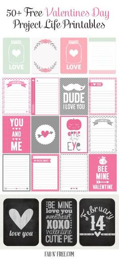 50+ Free Valentines Day Project Life Printables. Love this HUGE collection that will make fabulous Valentines Day decor!