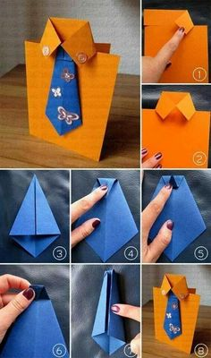 Cute and easy DIY Fathers Day Card Ideas to make at home.DIY Fathers day cards tutorials for making origami shirt cards,tie theme cards Diy And Crafts, Crafts For Kids, Arts And Crafts, Paper Crafts, Diy Father's Day Cards, Origami Shirt, Origami Dress, Jw Gifts, Father's Day Diy