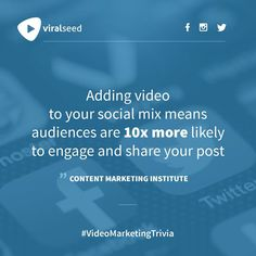 """""""Adding video to Your social mix means audiences are more likely to engage and share Your post"""" - Content Marketing Institute Inbound Marketing, Content Marketing, Digital Marketing, Marketing Institute, You Meant, Trivia, Seo, Social Media, Business"""
