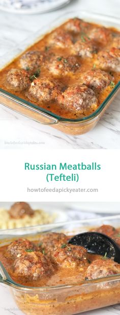 Soft and juicy meatballs with cooked rice for texture and flavor that's baked in a creamy tomato sauce. Meatball Recipes, Sausage Recipes, Meat Recipes, Cooking Recipes, Eastern European Recipes, European Cuisine, Ukrainian Recipes, Russian Food Recipes, Recipes