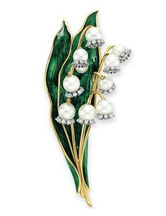 A DIAMOND, CULTURED PEARL AND ENAMEL LILY-OF-THE-VALLEY BROOCH, BY VERDURA.  Designed as two stalks of cultured pearl and circular-cut diamond lily-of-the-valley, to the green enamel leaves and sculpted gold stems, mounted in 18k gold, in a Verdura navy leather case  Signed Verdura