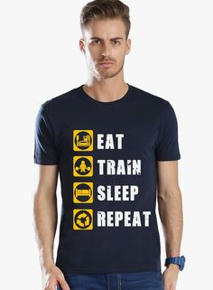 ADRO Cotton Round Neck EAT TRAIN SLEEP REPEAT Design Printed T-Shirts for Men…