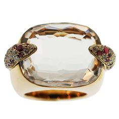 POMELLATO Gold, Rock Crystal, Ruby and Diamond Ring // 1stdibs