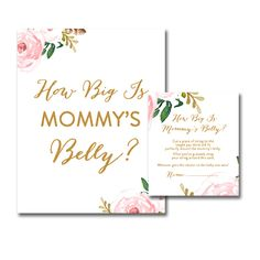 DIY!  Baby Shower Pretty Pink Watercolor Flowers Girl - Game How Big is Mommy's Belly - Instant Download Printable