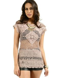 macreme clothing | Home > Clothes > Tops > Blouses & Shirts > Macrame Knitted Blouse ...