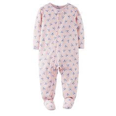 Carter's Girls 5T Pink BlueBird Polyester Jersey Footed Pajama NWT FOR SPRING #Carters #OnePiece