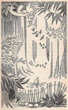 The most haunting cartoon I've encountered in my life. Ink Illustrations, Manga Illustration, Tove Jansson, Draw On Photos, Line Drawing, Art Inspo, Illustrators, Book Art, Vintage World Maps