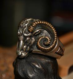 Men's Rams Head Ring 925 Sterling Silver 14k Gold Aries RAM Occult | eBay