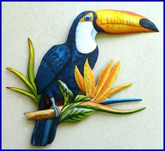 Painted Metal Toucan Wall Art - Tropical Parrot Wall Hanging   - See more painted metal designs at www.TropicAccents.com