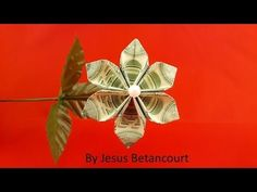 Easy Money Origami, Money Origami Tutorial, Origami Money Flowers, Origami Leaves, Origami Rose, Origami Ball, Origami Instructions, Origami Stars, Origami Paper