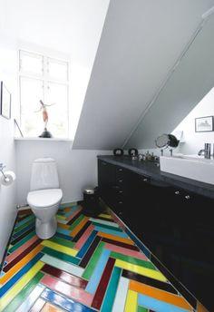 Crazy colorful tile floor