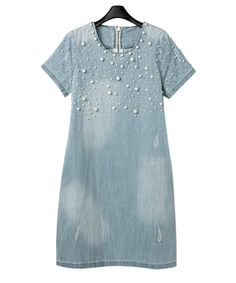 2016 Summer Style Loose Blue Jeans Dresses for Women Plus Size Short Sleeve O Neck Women Denim Dress Washed Vestidos 4XL 5XL 05