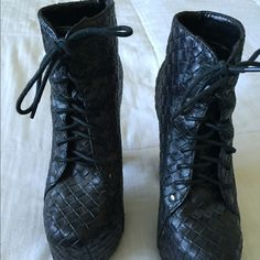 Black woven booties Black 5 inch heel booties Shoes Ankle Boots & Booties