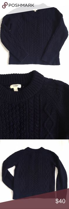 Lands End Canvas Navy Crop Wool Fisherman Sweater Land's End Canvas is Land's Ends more trendy label. Super thick chunky navy wool fisherman sweater. Slightly cropped. Looks great with high rise or flare jeans! Size XS but would also fit a small with a slightly looser fit. Lands' End Sweaters Crew & Scoop Necks