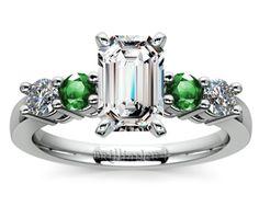 Emerald Round Diamond & Emerald Gemstone Engagement Ring in Platinum