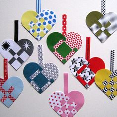 Scandinavian Christmas Paper Hearts DIY Kit. $5.00, via Etsy.