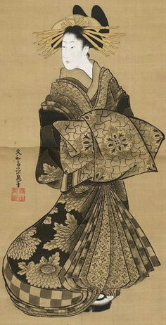 Bunnasai Eicho - Standing Courtesan, Ink and color on silk, Japan, MFA, William Sturgis Bigelow Collection Japanese Drawings, Japanese Artwork, Japanese Prints, Art Occidental, Japan Painting, City Painting, Art Chinois, Geisha Art, Art Asiatique