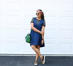 Layered denim dress, pinafore, free people denim dress, Summer styler, Early Fall layers