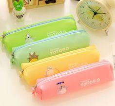 Neon Pastel Pencil pouch Totoro pencil case, Cute Zipper pouch kids bag, cute pencil case, cute stationary for kids, kawaii pencil pouch