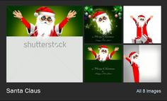 Illustrations, posters, greeting cards,with Santa Claus
