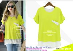 Lady New Fashion 2014 Tank Blouse One Pocket Chiffon Tops Women Candy Color short sleeve Shirt Grey yellow blue Free Shipping